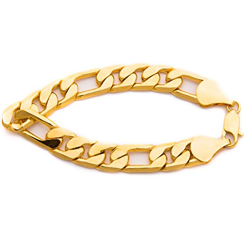LIFETIME JEWELRY 11mm Figaro Chain Bracelet Men and Women 24k Real Gold Plated with Lifetime Replacement Guarantee (9)