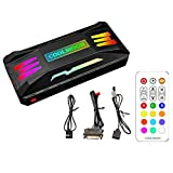 KLLsmDesign Pwm Fan Temperature Controller Integrator, Remote Control Computer RGB Light Adapter, 8 4 Pin Fan Speed Controller Ports, 10 5v 3pin A-RGB Ports ,with Magnet (Black)