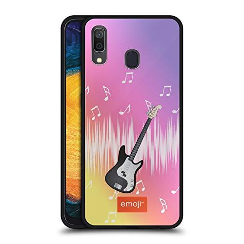 Head Case Designs Offizielle Emoji® Gitarre Musik Schwarze Hybride Glas Rueckseiten Handyhülle Hülle Huelle kompatibel mit Samsung Galaxy A20 / A30 2019