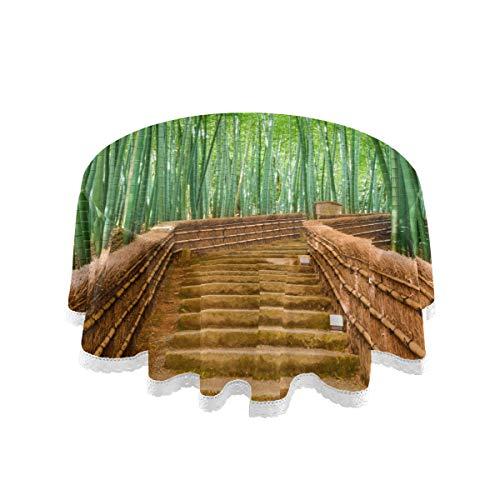 WYYWCY Mantel redondo para mesa de picnic para patio, Kyoto Japón, bambú, bosque, carretera, plantas, árbol, verde, protector de mesa de 152 cm, costura de encaje de macramé, decoración de poliéster