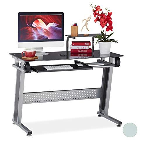 Relaxdays PC Schreibtisch, Glas, Tastaturauszug und Ablage, platzsparend, modernes Design, HBT 94x110x58 cm, schwarz