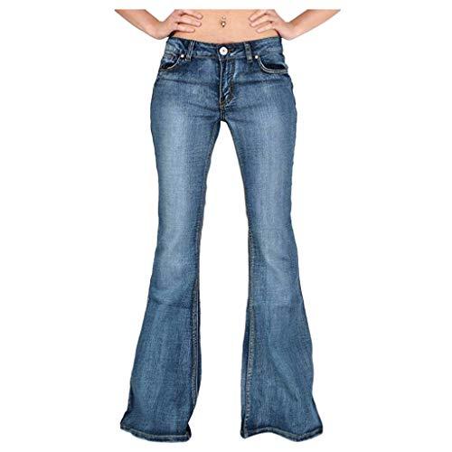 LOPILY Hose Damen Jeanshosen Bootcut High Waist Schlaghosen mit Weitem Bein Jerseyhosen Plus Size Winter Denim Freizeit Schlupfhosen Damen Stretch Pluderhosen Jeans (Hellblau, XL)