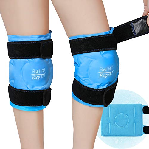 Relief Expert Knee Ice Pack for Injuries Reusable Gel Cold Pack Knee Wrap Around Entire Knee with Cold Compression, Instant Pain Relief for Surgery Swelling, Bruises - Soft Plush Lining 2 Packs