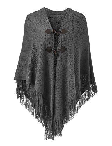 Ferand Poncho-Schal in lässiger Passform mit stylischen Hornknöpfen, V-Ausschnitt und V-Saum für Frauen, Dunkelgrau