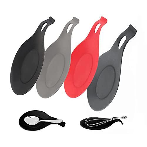 4 Pcs Apoyos de cuchara de silicona,Silicona Cuchara Resto Set,Cucharas de silicona multiusos para utensilios de cocina,Previniendo eficazmente las quemaduras y el aislamiento térmico