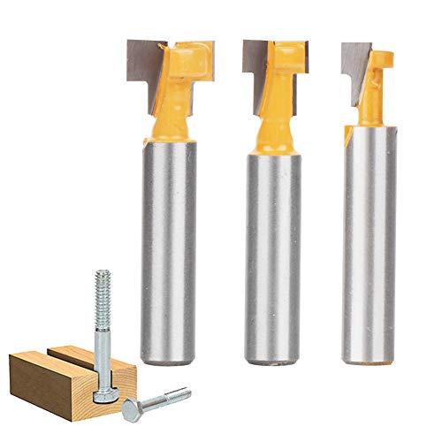 Mitening 8mm Schaft Fräser, Fräser Set, Fräsen Werkzeug Set, 3-tlg Oberfräse Fräser, Holzbearbeitungswerkzeug Bit, T-Nutfräser-Set - Nuten Fräsen für Gängige Sechskantschrauben