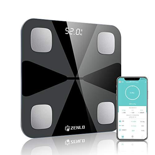 体重計 体組成計 体脂肪計 Bluetooth デジタル 高精度 体重/体脂肪率/体水分率/筋肉量/内臓 脂肪/タンパク質/BMI測定可能 ボディスケール 電源自動ON/OFF 薄型 iOS/Android 対応 スマホでデータ管理