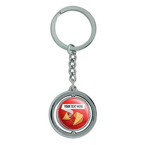 Personalized Custom Fortune Cookie Keychain Spinning Round Chrome Plated Metal
