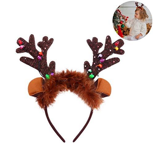 barsku Kerst LED Light-up Hoofdband, Kerst Haar Hoop,Kerst Antler Hoofddeksels Kerst Headdress Haar Decoratie Kerstmis Haaraccessoires voor Vrouw Kids