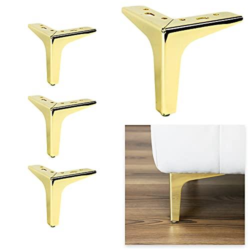 P17 Modelo Siena | Juego de 4 patas + 16 tornillos | Altura 13 cm | Patas para sofás, muebles, armarios, sillones | Patas de metal para muebles de diseño moderno y elegante | (dorado)