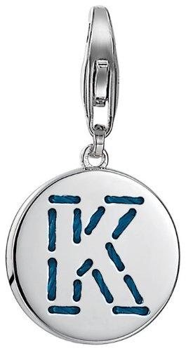ESPRIT Damen-Charm 925 Sterling Silber rhodiniert Letter Fabric K ESCH91133A000