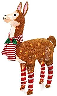 WWL 31 Inch Tall - Light-Up Tinsel Holiday Christmas Llama, Pre-Lit 50 Clear Lights