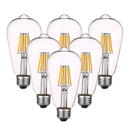 Dimmable 6W LED Edison Bulb 4000k (Daylight White) 600LM, 60W Equivalent E26 Medium Base, ST64(ST21) Vintage LED Filament Bulbs, Clear Glass Cover, Pack of 6
