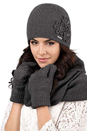 Kamea - Winterset Corato - Mütze mit passendem gerippten Schal - verschiedene Farbauswahl, Winter Set:Dunkelgrau