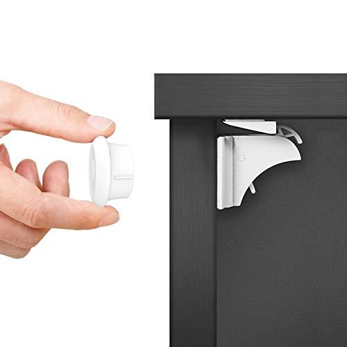 Dokon Baby Sicherheit Magnetisches Schrankschloss, die unsichtbare Kindersicherung für Schrank und Schubladen, ohne Bohren und Schrauben (10 Schlösser + 2 Schlüssel)