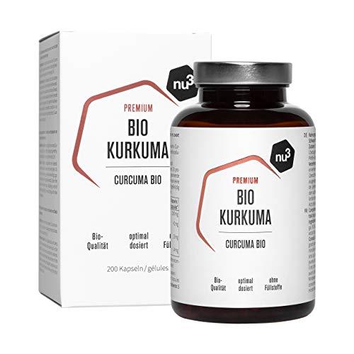 nu3 Curcuma Bio - 200 Gélules - Gélules de curcuma vegan - Haute teneur en curcumine et en pipérine naturelles provenant d'extraits de poivre noir - Produits certifié en laboratoire en Allemagne