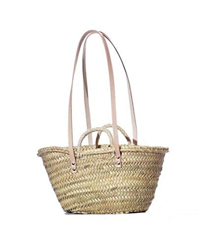 Wicker & Co Palm Basket with Double Handles 40 x 24 cm, Brown, 40 x 24 cm