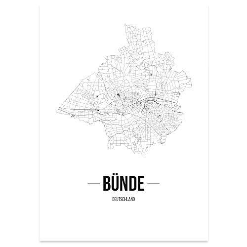 JUNIWORDS Stadtposter - Wähle Deine Stadt - Bünde - 30 x 40 cm Poster - Schrift B - Weiß