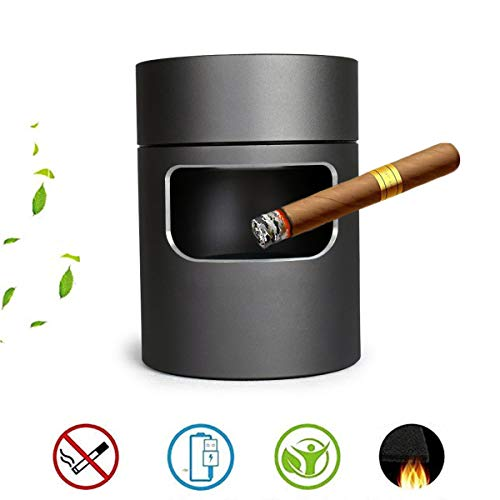 Best Buy! JHQYHG Smokeless Ashtray Stainless Filter Air Purifier Remove Secondhand Smoke Dust Negati...