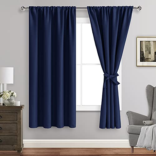 ROSETTE Blackout Curtains for Bedroom - Thermal Insulated Room Darkening Noise Reducing, 42 x 63 Inch Length Curtains for Living Room, Set of 2 Panels with Tiebacks, Navy Blue