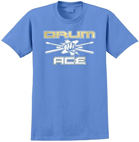 MusicaliTee Drum Fist Sticks Ace - Carolina Blau T Shirt Größe 119cm 48in 2XL