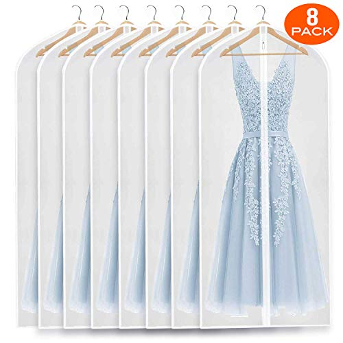 Refrze Moth Proof Garment Bags,Garment Cover,8 Pack Clear Garment Bags,Hanging Garment Bag, Dress Garment Bags for Storage or for Travel,Breathable Dust and Waterproof Garment Covers Clear 24x60 ins