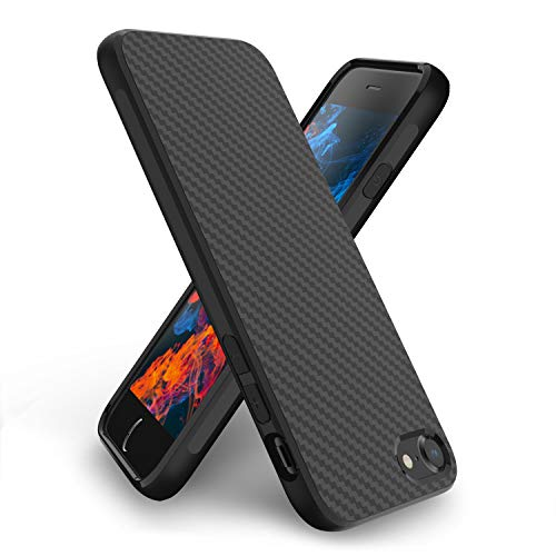 Syncwire Cover iPhone 8 Plus, Cover iPhone 7 Plus - Custodia Protettiva Ultra Sottile Case per iPhone 8plus/7plus [Design a Trama Geometrica in Fibra di Carbonio] Flessibile TPU Cover, Nero
