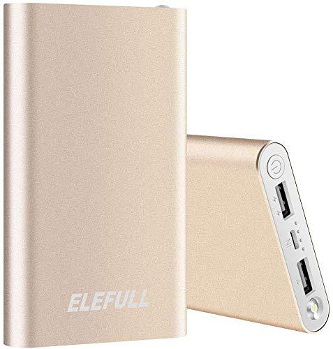Batería Externa 10000mAh con Linterna 2 Puertos USB Banco de Energía Portátil Rápido con Carcasa Metálica y Aspecto Elegante para Teléfonos Móviles Tabletas y Otras Electrónicas (10000mAh Oro)