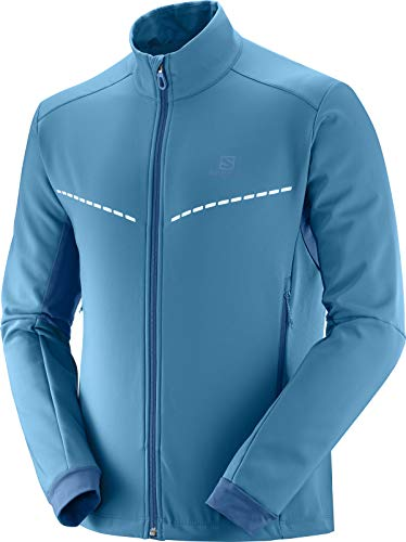 Salomon Herren Softshell-Jacke, AGILE SOFTSHELL JKT M, Synthetik, blau (Lyons Blue/Poseidon), Größe: XL, LC1161900