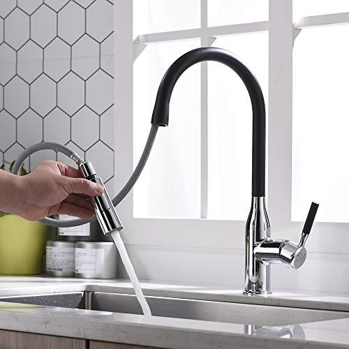 Umi. by Amazon - 360° Drehbar Wasserhahn mit ausziehbarem Brause Spültisch Armatur Küche Spültischarmatur Spülbecken Mischbatterie