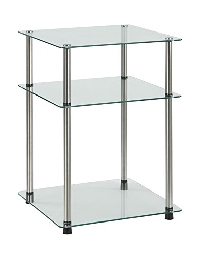 Convenience Concepts Designs2Go Classic Glass 3 Tier End Table, Glass