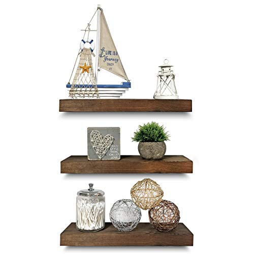 Rustic Farmhouse 3 Tier Floating Wood Shelf - Real Hardwood Floating Wall Shelves (Set of 3), Hardware and Fasteners Included (Walnut, 16