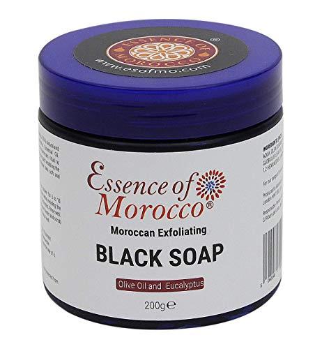 Savon Noir Beldi avec Huile Essentielle d'Eucalyptus Exfoliant Marocain Pour Gommage et Soin du Corps 200 g