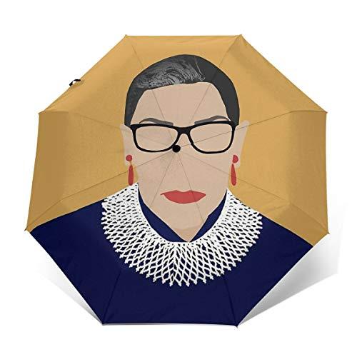 ScDJrock Ruth Bader Ginsburg Modedruck Winddicht Automatik-Dreifachschirm Sonnenschutz UV-Schutz Sonnenschirm Outer Print