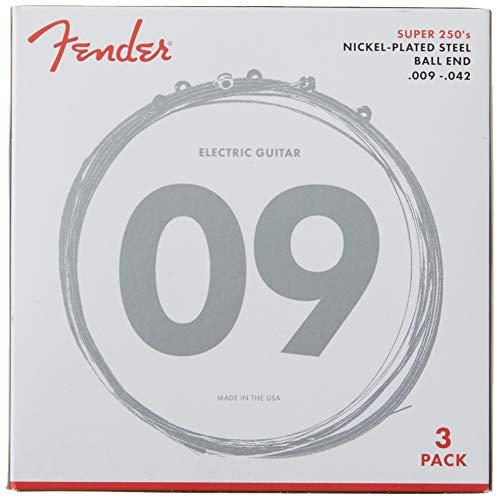 Fender Bass-Saiten aus vernickeltem Stahl, Runddraht, 1 Stück 9-42 Super 250's (3-Pack)