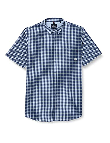 LERROS Herren Kariertes Kurzarmhemd Hemd, Storm Blue, 3XL