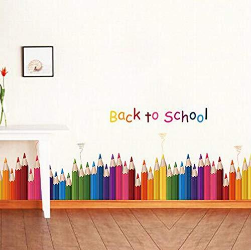 Dalxsh Kleuterschool Kinderkamer Hoek Tailleband Stickers Ladders Stickers Klas Kleurpotloden Terug naar School Muurstickers 60x90cm