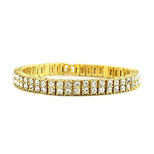 HH Bling Empire Iced Out 14k Gold Mens Hip Hop CZ Diamond Bracelets (2 row cz diamond bracelet)