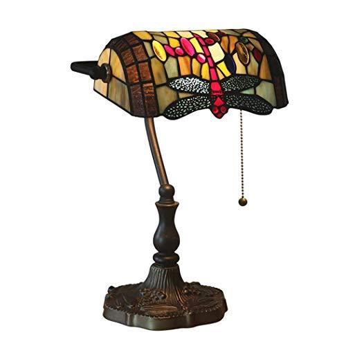 DALUXE Dragonfly Tiffany Lámpara de Mesa Europea Vintage de Cristal de vidrieras Escritorio de la lámpara Baroco Tiffany Art Deco Lámparas Zinc Base Night Room Sala de Estar Mesa de Centro