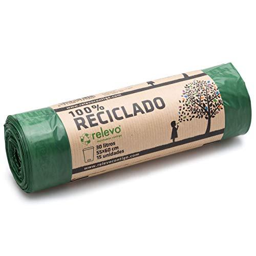 Relevo 100{b140ba7187ff2abb3a49b5eeeca3eac52fabc96f90649c4c191ca668ca4e15b6} Reciclado Bolsas de Basura, extra resistentes 30 L, 15 bolsas