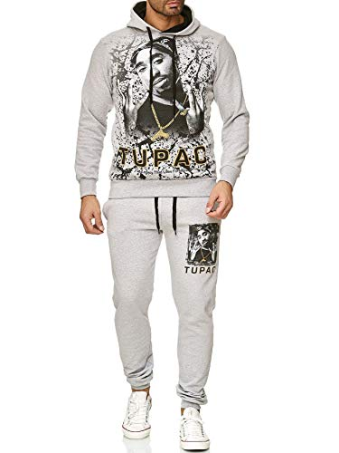 Herren Trainingsanzug 2Pac Shakur Jogginganzug Hip Hop, Farben:Grau, Größe Pullover:XL