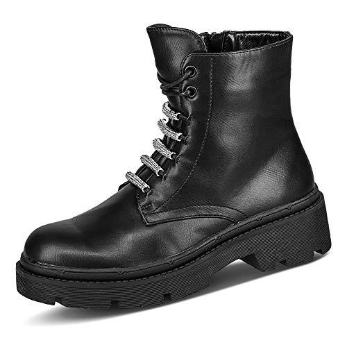 Claudia Ghizzani 2.VV1405 Damen Boots Lederimitat Uni Blockabsatz Stiefeletten, Groesse 36, schwarz
