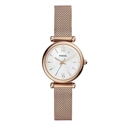 Fossil Damen Analog Quarz Uhr mit Edelstahl Armband ES4433, Gelb -Gold