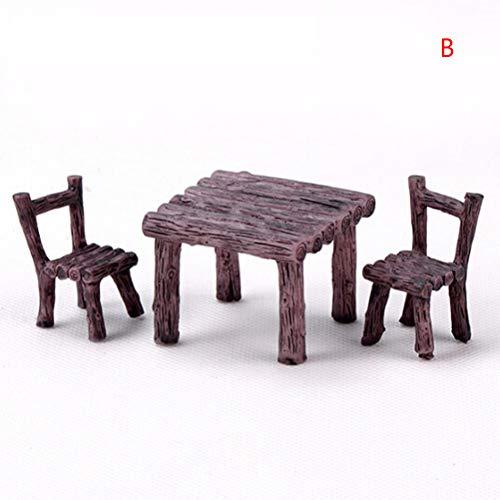 BESTIM INCUK Miniature Fairy Garden Accessores Ornaments, 3 Pieces Cute Resin Table Chairs Furniture Set for DIY Miniature Garden, Terrarium, Dollhouse, Home Decoration