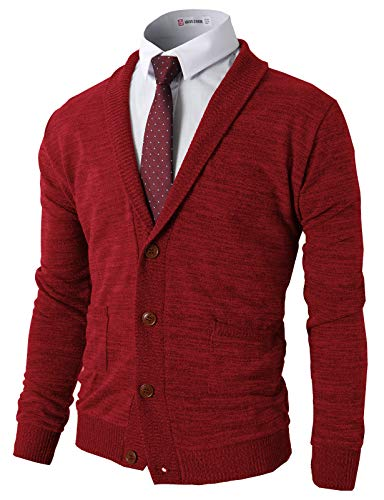 H2H Men Shawl Collar High-Low Hem Long Cardigan RED US 2XL/Asia 3XL (CMOCAL07)