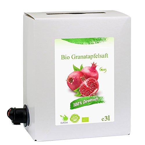GutFood - 3 Liter Bio Granatapfelsaft - Bio Granatapfel Saft in praktischer Bag in Box Packung ( 1 x 3 l Saftbox ) - Muttersaft aus Bio Granatäpfeln Erstpressung in absoluter Spitzenqualität
