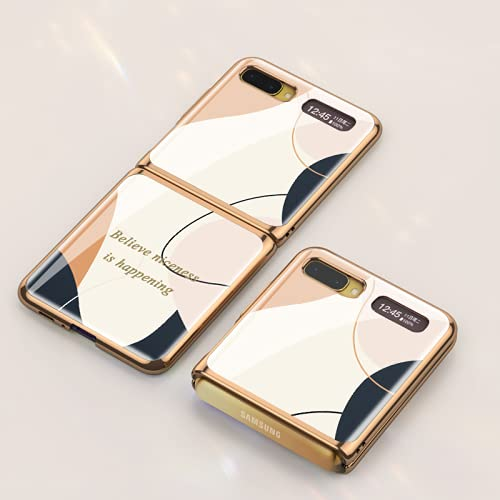 Lujo Estuche plegable de vidrio para teléfono móvil adecuado para Samsung Galaxy Z Flip 5G Pintado, plegable, creativo, para negocios, teléfono, protege el borde del revestimiento de la carcasa