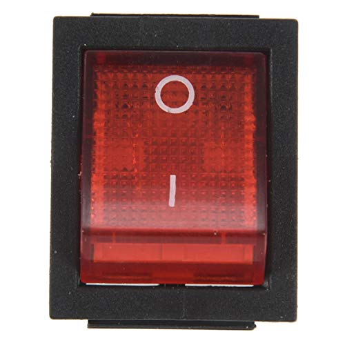 SODIAL(R) Intterrutore a bilanciere a 4 Pin DPST on/off Snap in con Luce Rossa 15A/250V 20A/125V AC 28x22mm