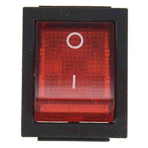 Huante - Interruptor basculante de encendido y apagado (4 pines, 15 A/250 V, 20 A/125 V, CA, 28 x 22 mm), color rojo y negro