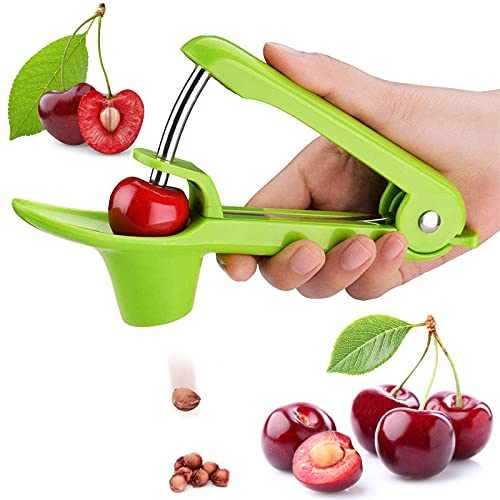 Cherry Pitter Tool Olive Pitter Tool Cherry Pitter Remover Stoner Corer Tool with SpaceSaving Lock Design Cherry Pitter Suitable for Make Fresh Cherry Dishes Cherries PieJam Cocktail Cherries